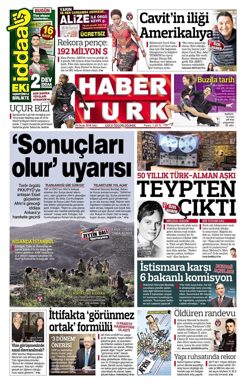Günün gazete manşetleri (20 Şubat 2018)