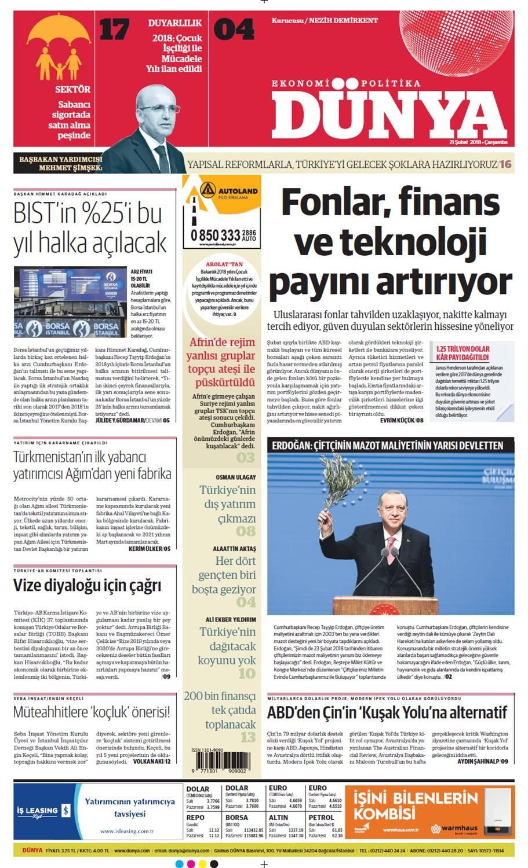 Günün gazete manşetleri (21 Şubat 2018)