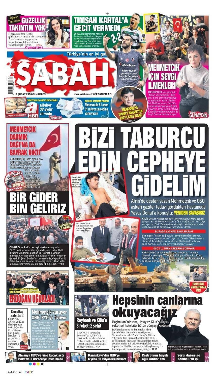 Günün gazete manşetleri (3 Şubat 2018)