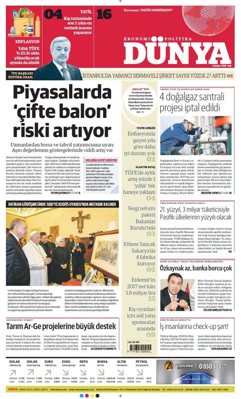 Günün gazete manşetleri (6 Şubat 2018)