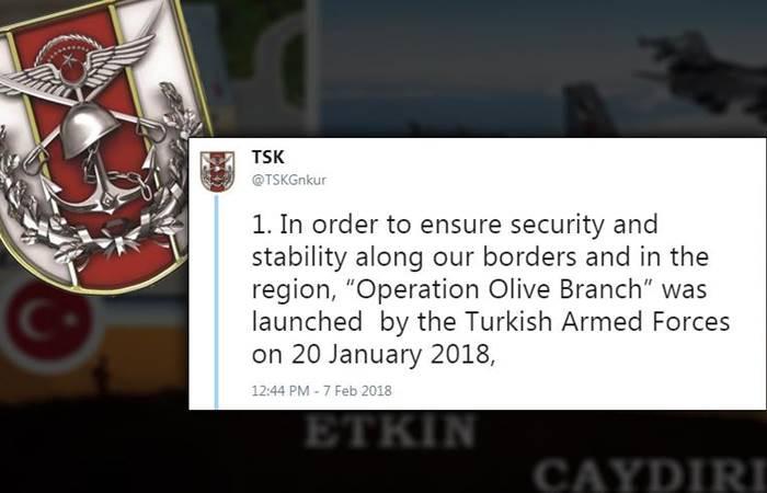 TSK'dan Afrin hakkında İngilizce bilgilendirme
