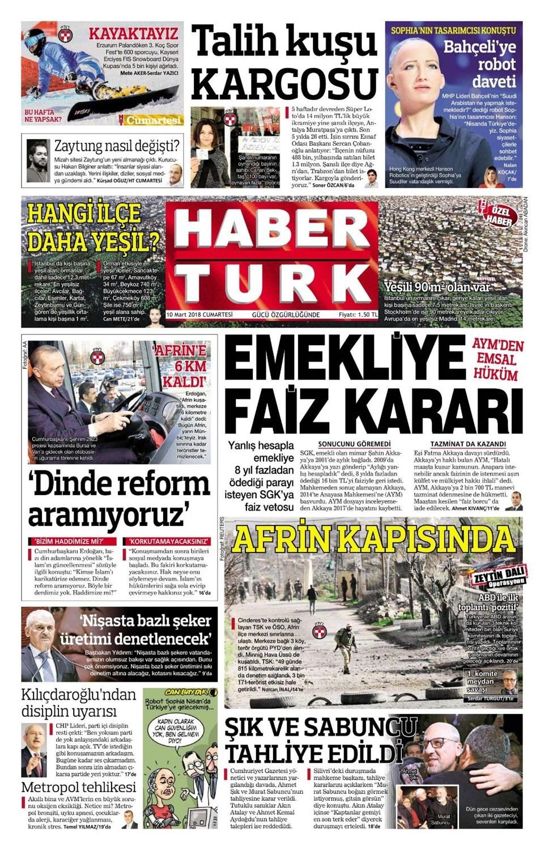 Günün gazete manşetleri (10 Mart 2018)