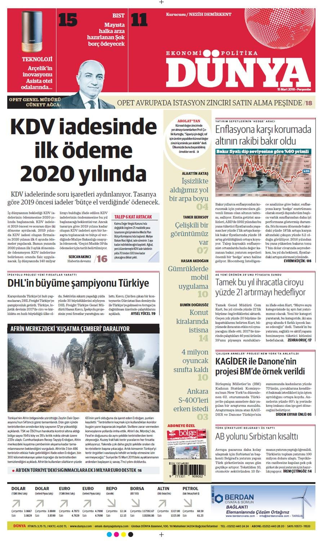 Günün gazete manşetleri (15 Mart 2018)