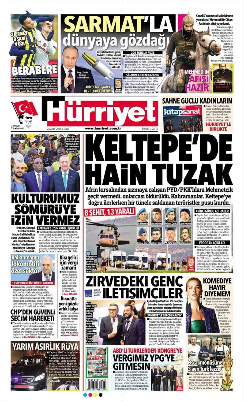Günün gazete manşetleri (2 Mart 2018)