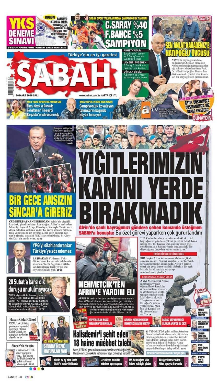 Günün gazete manşetleri (20 Mart 2018)
