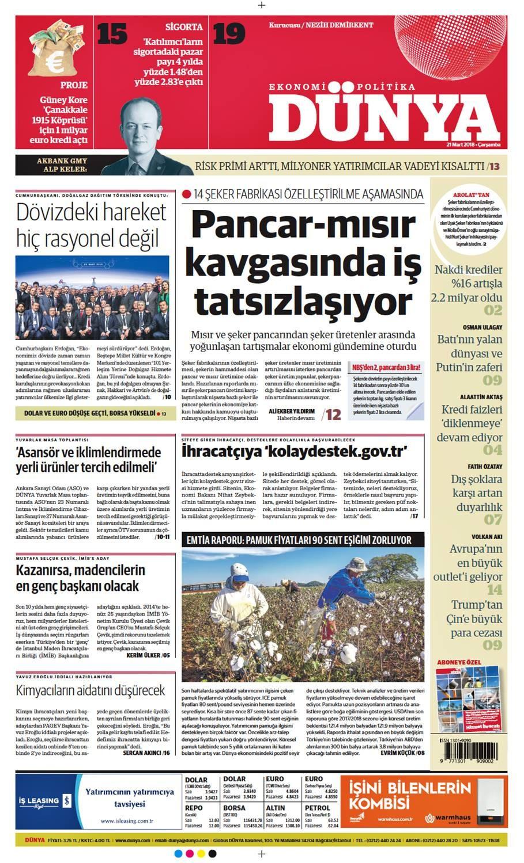 Günün gazete manşetleri (21 Mart 2018)