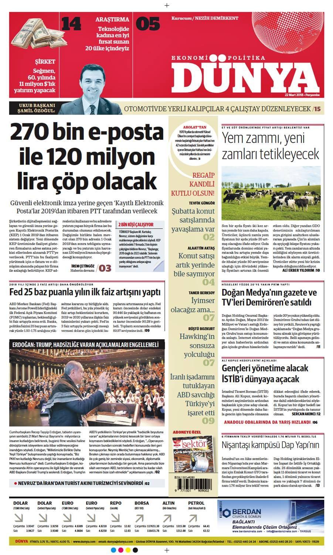 Günün gazete manşetleri (22 Mart 2018)