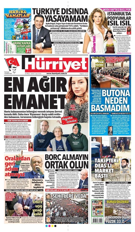 Günün gazete manşetleri (24 Mart 2018)