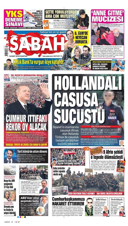 Günün gazete manşetleri (26 Mart 2018)