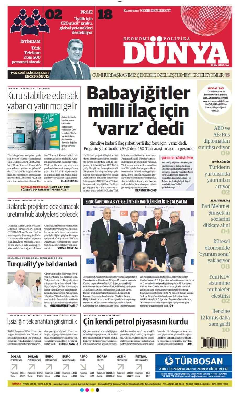 Günün gazete manşetleri (27 Mart 2018)