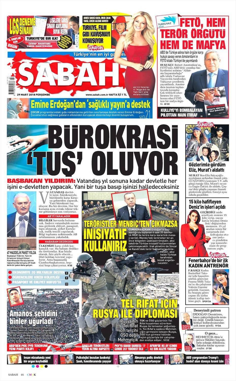 Günün gazete manşetleri (29.03.2018)