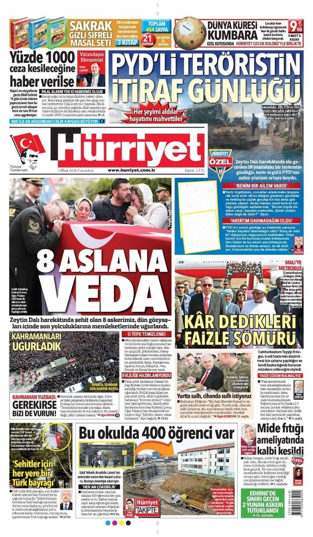 Günün gazete manşetleri (3 Mart 2018)