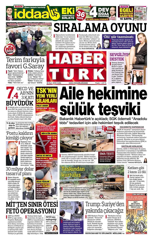 Günün gazete manşetleri (30 Mart 2018)
