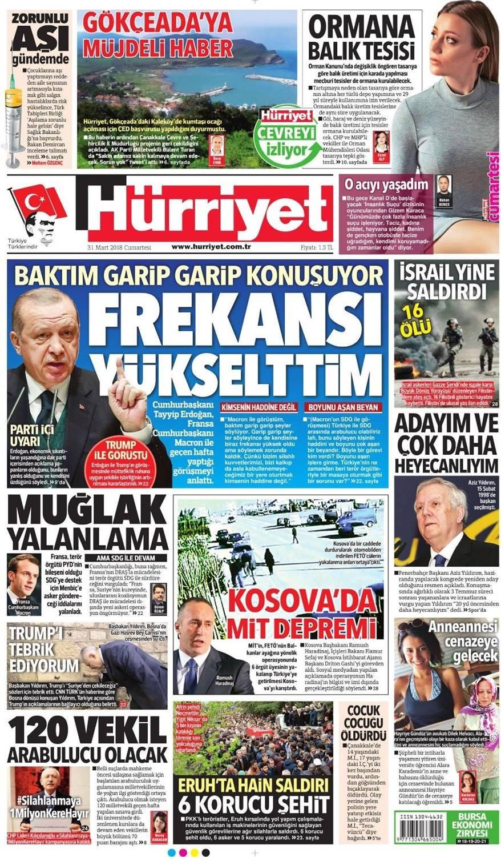Günün gazete manşetleri (31 Mart 2018)