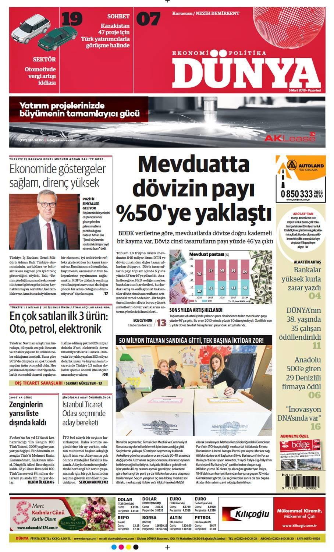 Günün gazete manşetleri (5 Mart 2018)