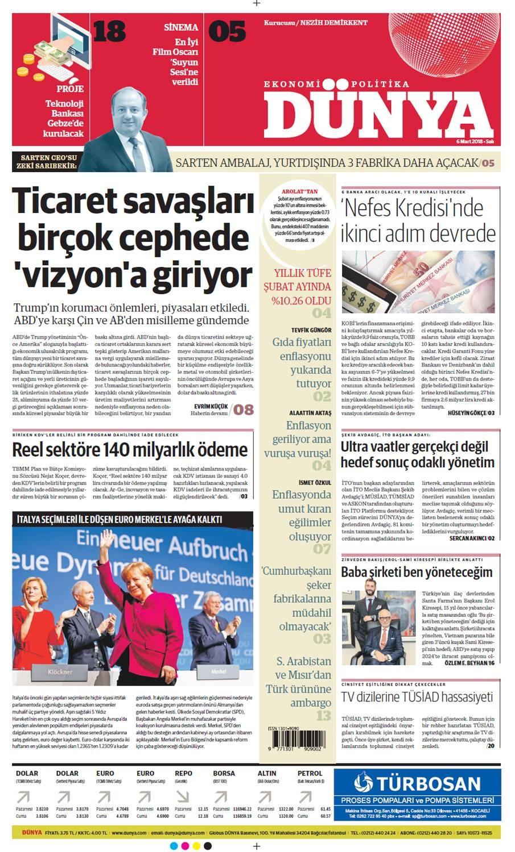Günün gazete manşetleri (6 Mart 2018)