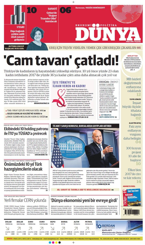 Günün gazete manşetleri (8 Mart 2018)