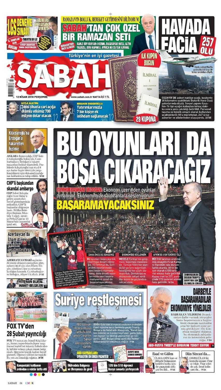 Günün gazete manşetleri (12 Nisan 2018)