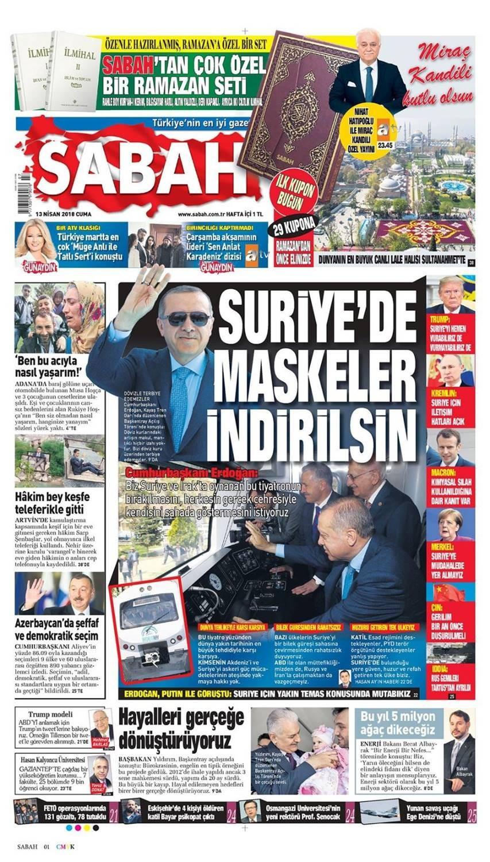 Günün gazete manşetleri (13 Nisan 2018)