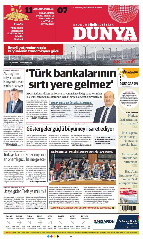 Günün gazete manşetleri (16 Nisan 2018)