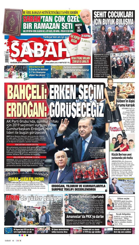 Günün gazete manşetleri (18 Nisan 2018)