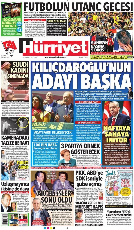 Günün gazete manşetleri (20 Nisan 2018)