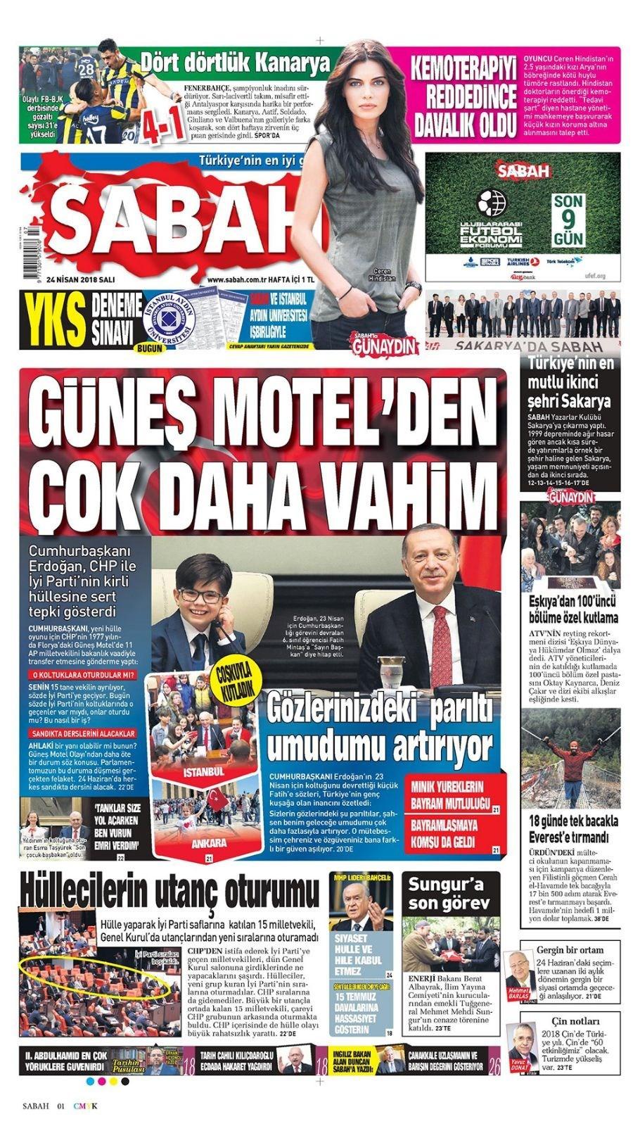 Günün gazete manşetleri (24 Nisan 2018)