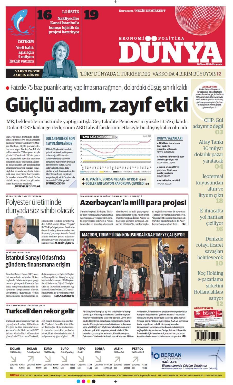 Günün gazete manşetleri (26 Nisan 2018)