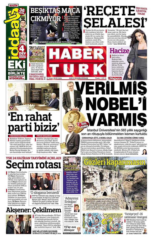 Günün gazete manşetleri (27 Nisan 2018)