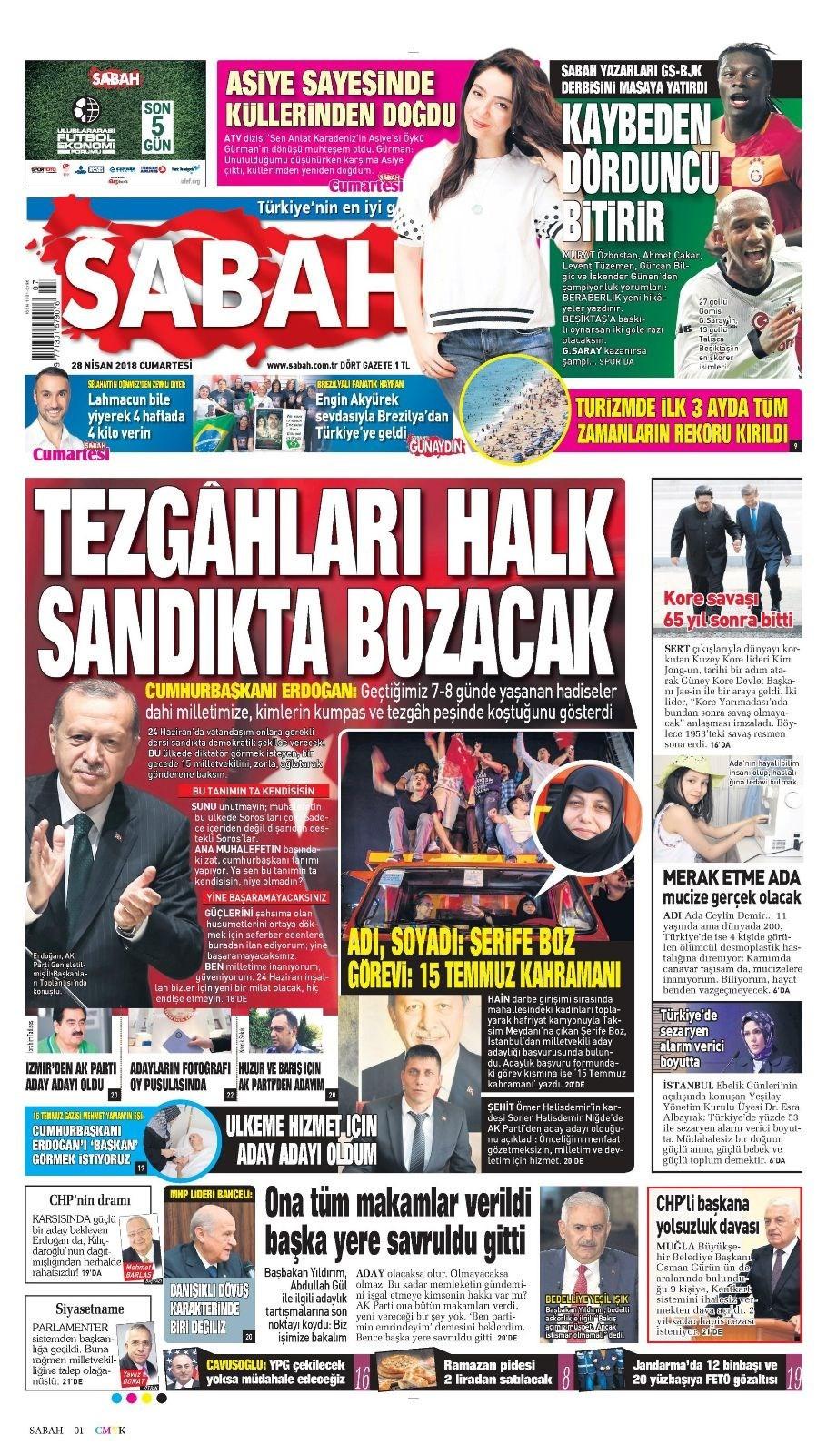 Günün gazete manşetleri (28 Nisan 2018)