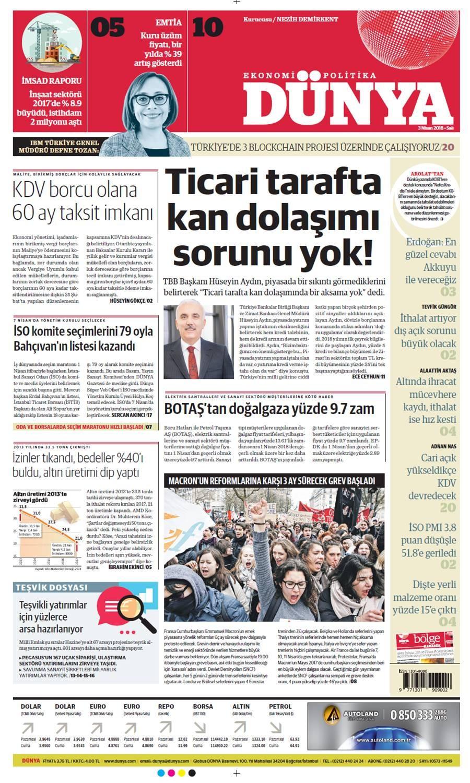 Günün gazete manşetleri (3 Nisan 2018)