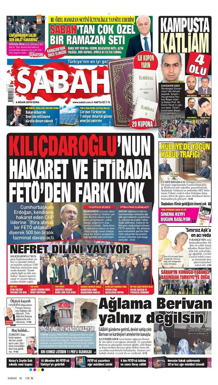 Günün gazete manşetleri (6 Nisan 2018)