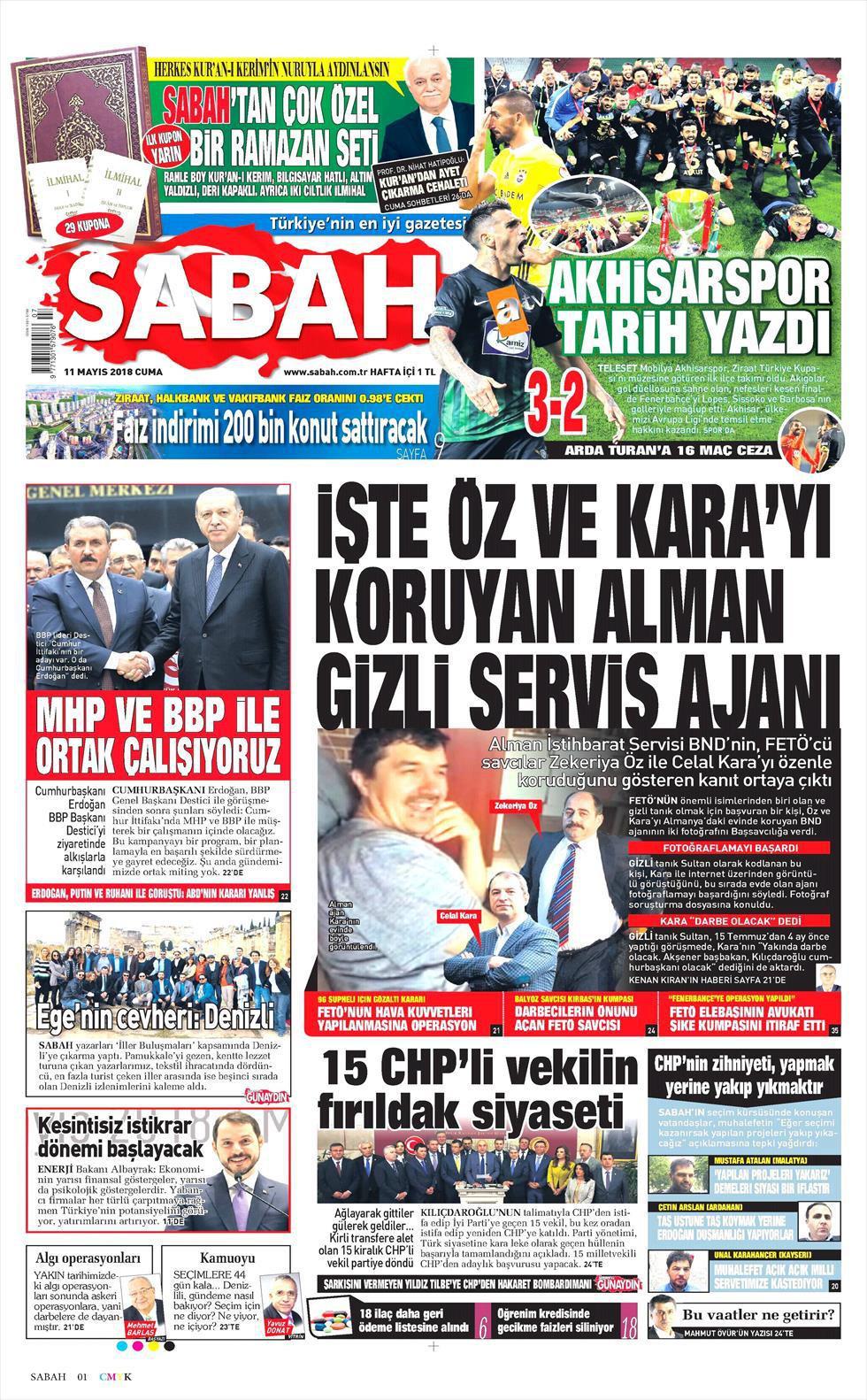 Günün gazete manşetleri (11 Mayıs 2018)