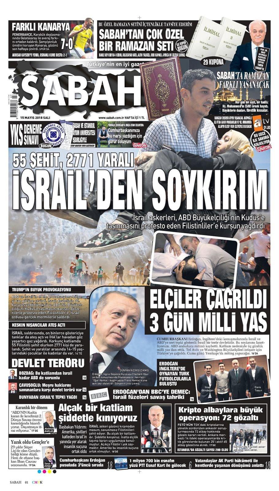 Günün gazete manşetleri (15 Mayıs 2018)