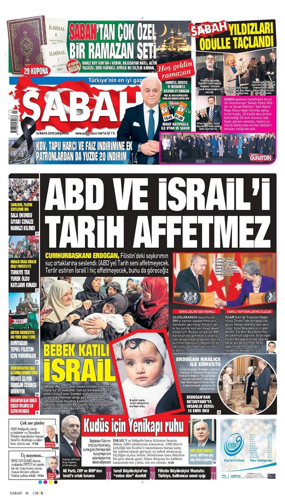 Günün gazete manşetleri (16 Mayıs 2018)