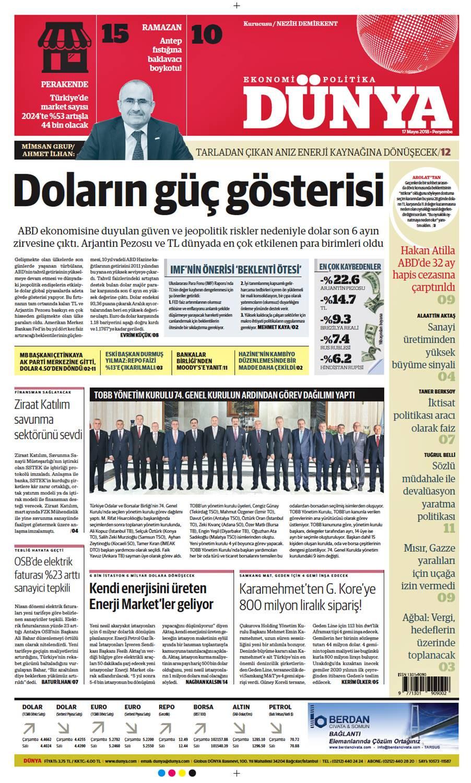 Günün gazete manşetleri (17 Mayıs 2018)