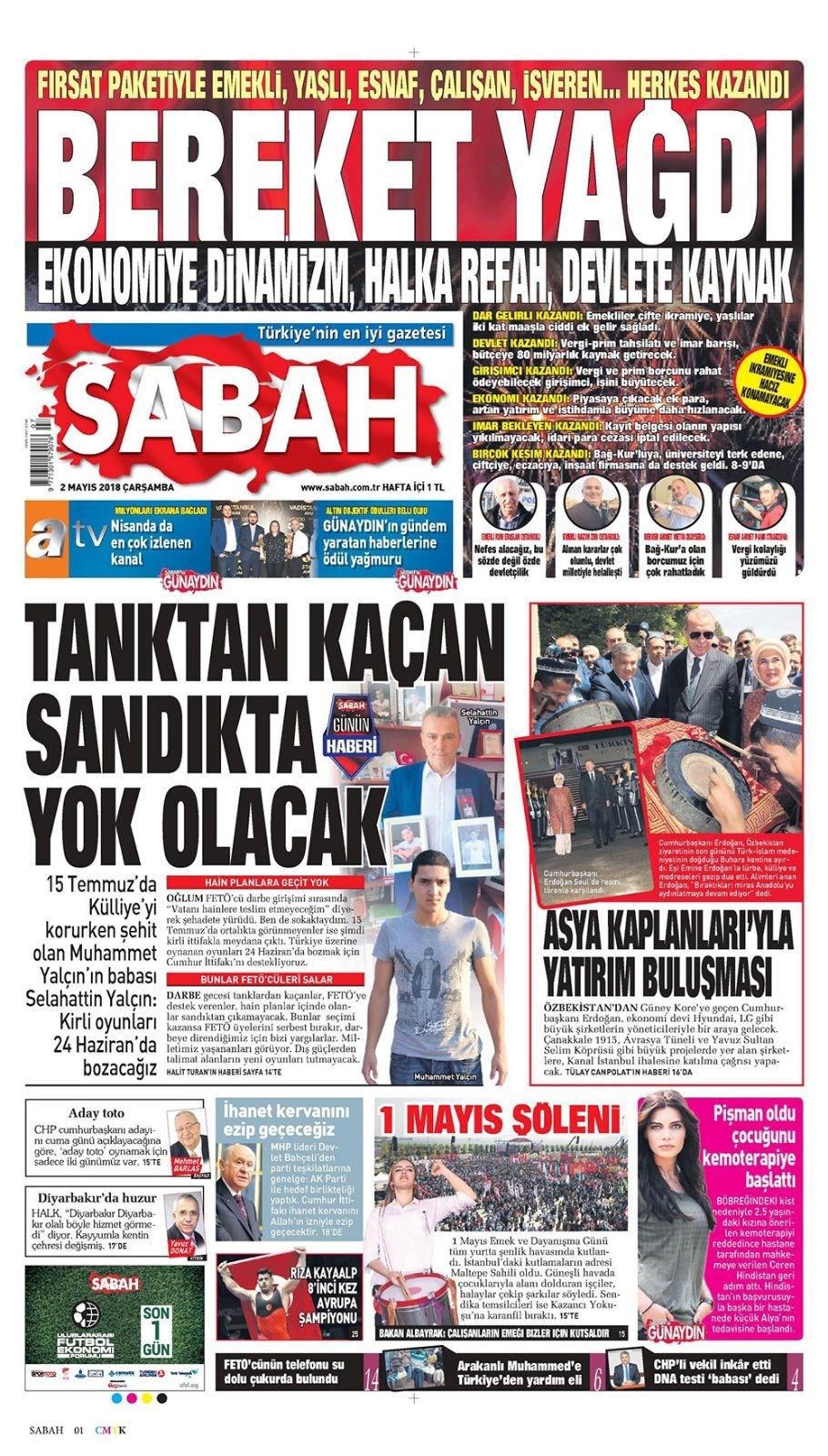 Günün gazete manşetleri (2 Mayıs 2018)