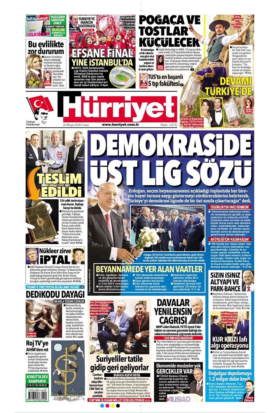 Günün gazete manşetleri (25 Mayıs 2018)