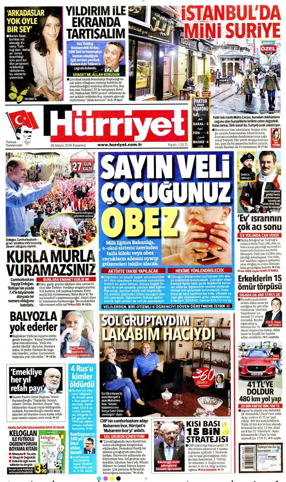 Günün gazete manşetleri (28 Mayıs 2018)
