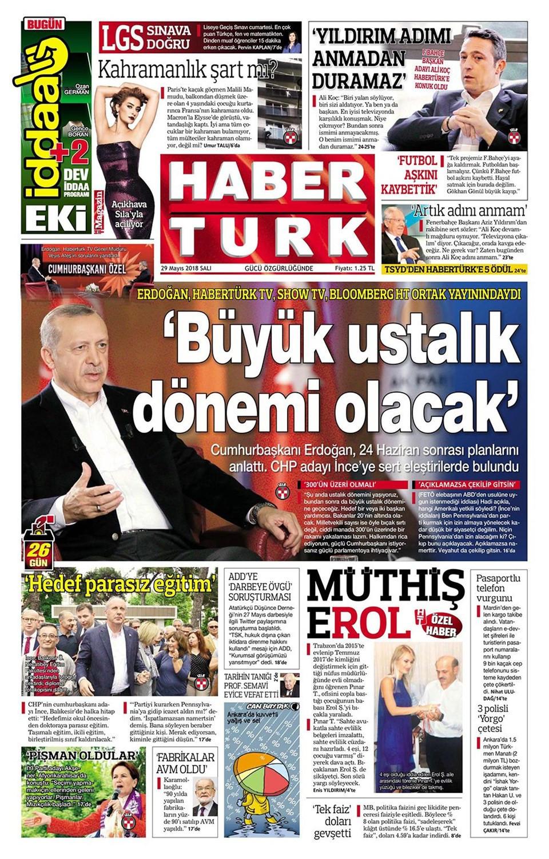 Günün gazete manşetleri (29 Mayıs 2018)