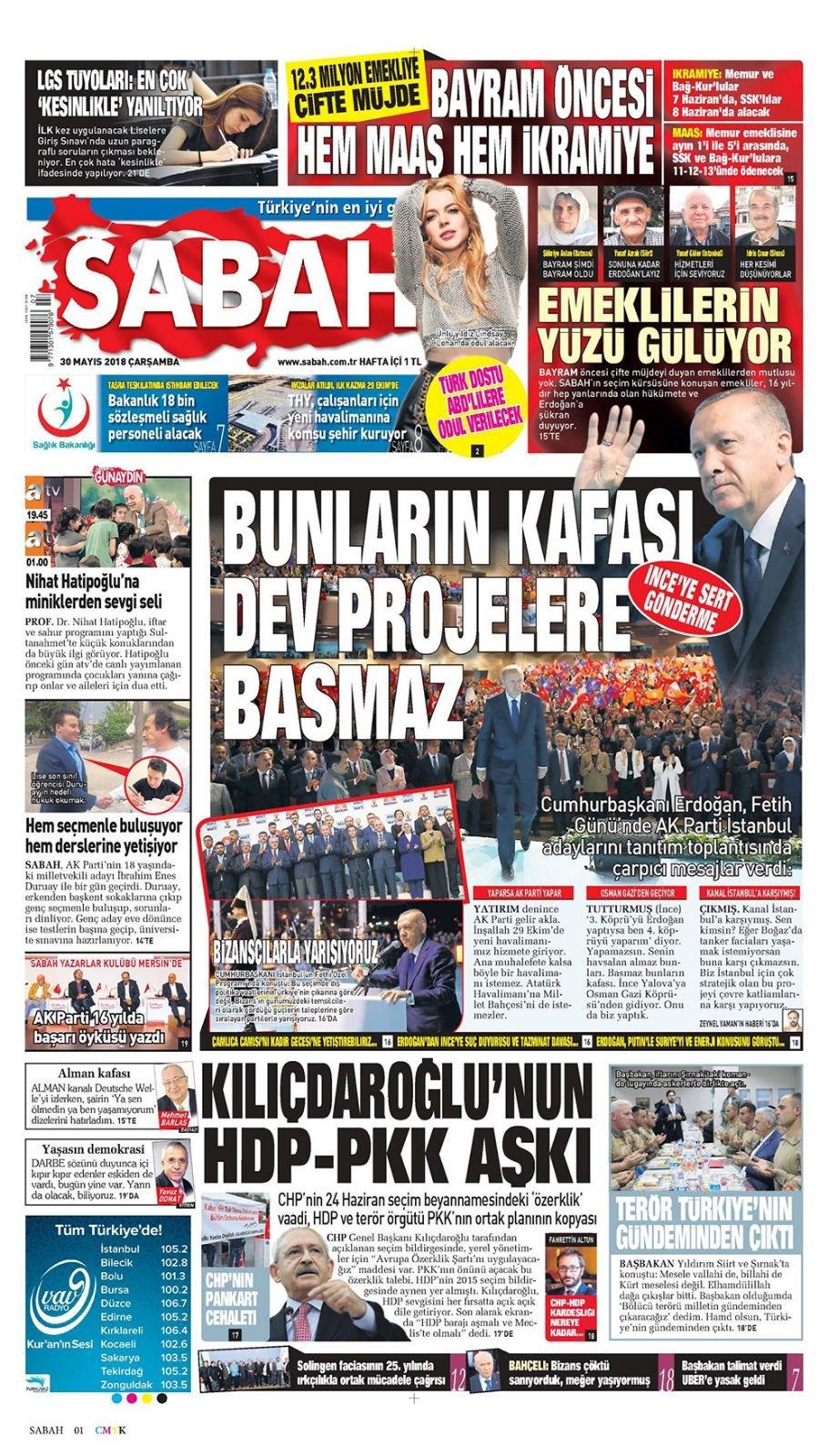 Günün gazete manşetleri (30 Mayıs 2018)