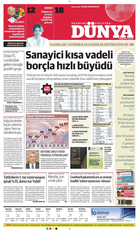 Günün gazete manşetleri (31 Mayıs 2018)
