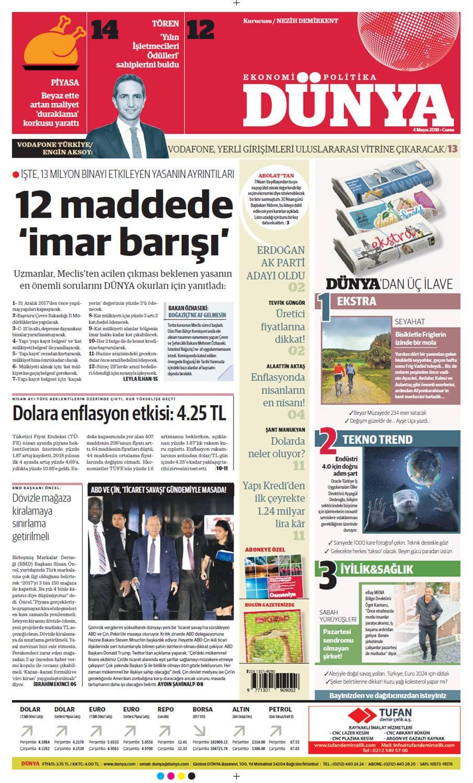 Günün gazete manşetleri (4 Mayıs 2018)