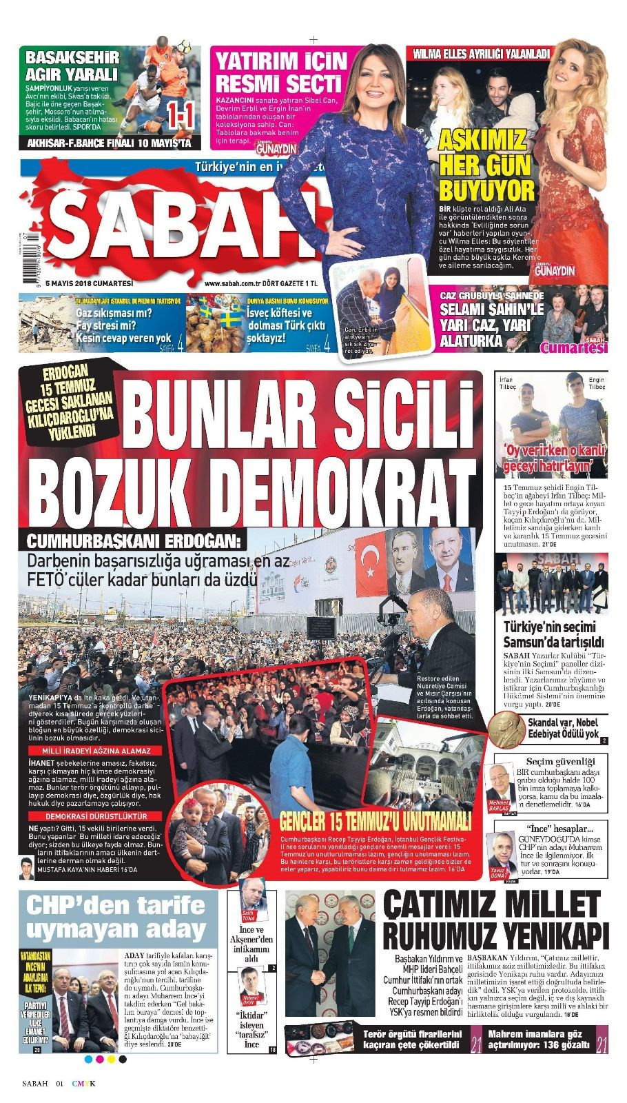 Günün gazete manşetleri (5 Mayıs 2018)