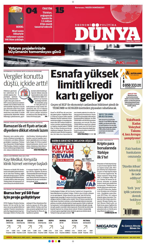 Günün gazete manşetleri (7 Mayıs 2018)