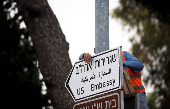 """Kudüs'e """"ABD Büyükelçiliği"""" levhaları yerleştirildi"""