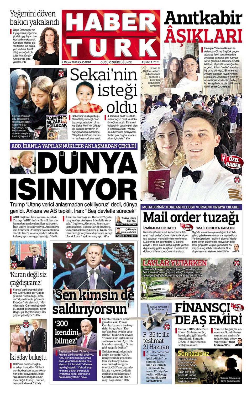 Günün gazete manşetleri (9 Mayıs 2018)