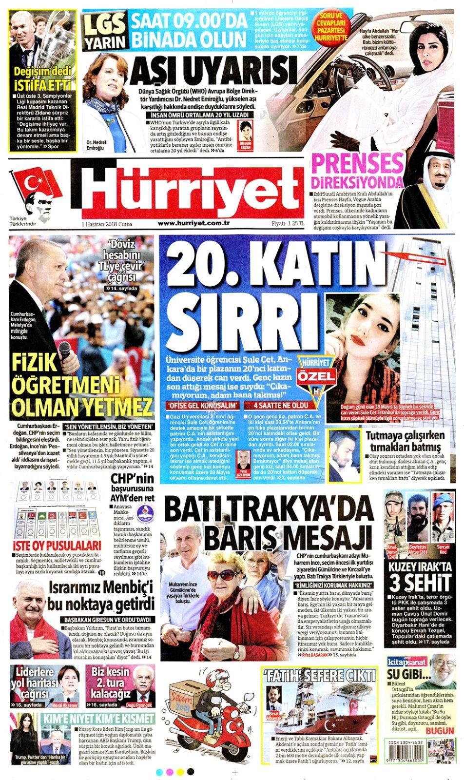 Günün gazete manşetleri (1 Haziran 2018)