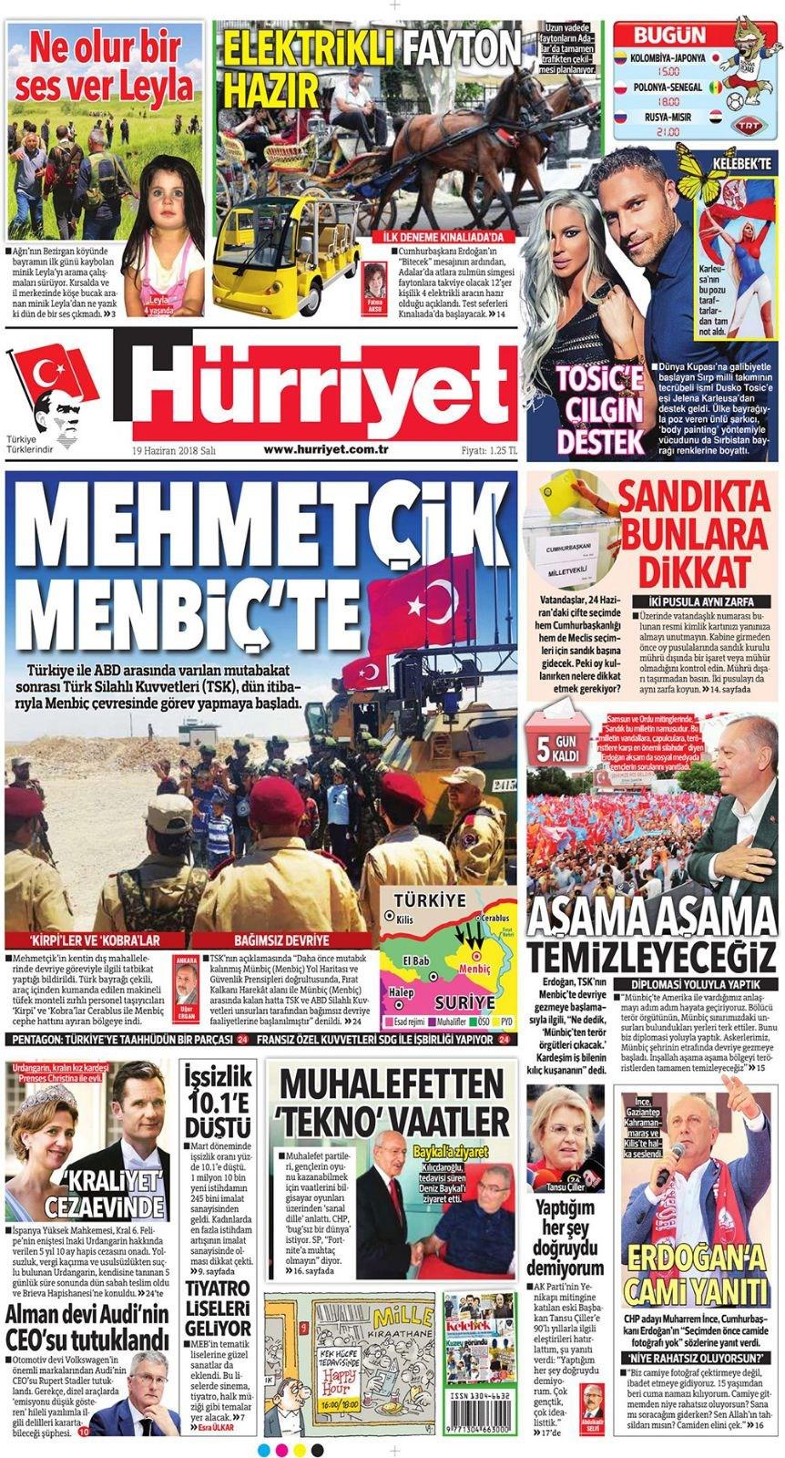 Günün gazete manşetleri (19 Haziran 2018)
