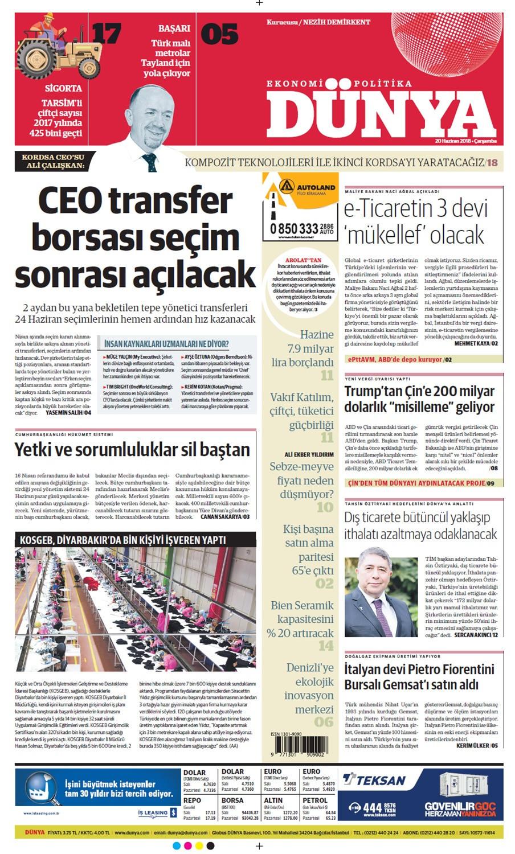 Günün gazete manşetleri (20 Haziran 2018)